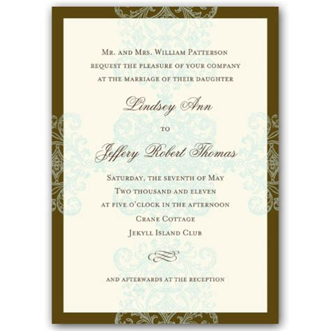 formal blue pattern vertical wedding invitations paperstyle