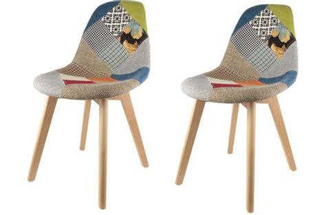 stuhl bunt lot de 2 chaises scandinaves patchwork colorés