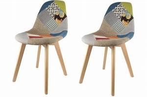 Lot Chaises Scandinaves : lot de 2 chaises scandinaves patchwork color s fjord chaise design pas cher ~ Teatrodelosmanantiales.com Idées de Décoration