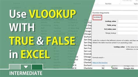 excel vlookup showing false  true arguments youtube