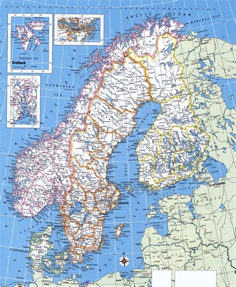 large detailed political map  norway sweden finland