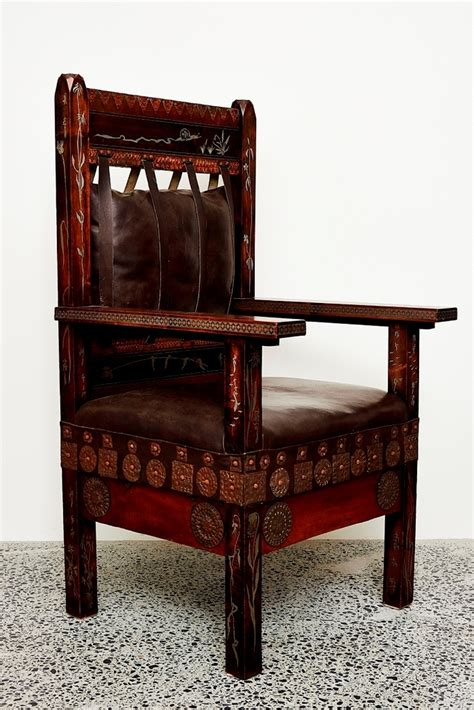 Carlo bugatti throne chair in ebonized wood vellum and copper at 1stdibs. Carlo Bugatti | Throne Armchair (Circa 1902) | MutualArt
