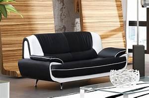 Canapé Design 3 Places : deco in paris canape 3 places design noir et blanc marita marita 3 pl noir blanc ~ Teatrodelosmanantiales.com Idées de Décoration