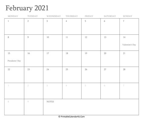 17+ Printable Calendar Of February 2021  Images