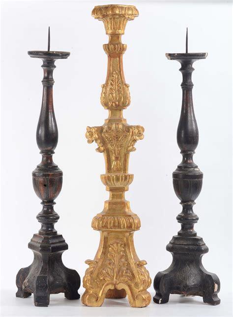 candelieri antichi tre candelieri in legno scolpito antiquariato e dipinti