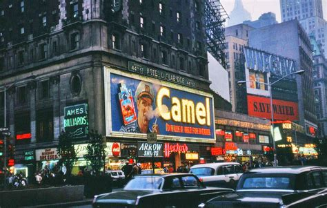 vintage pictures  smoking camel signs  times square