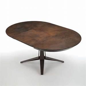 Table design ronde extensible en céramique pied central en métal Link Midj® 4 Pieds : tables