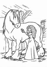 Horse Coloring Pages Princess Merida Cleaning Printable Disney Miniature Bow Getcolorings Getdrawings Princes Lady Colorings Prince sketch template