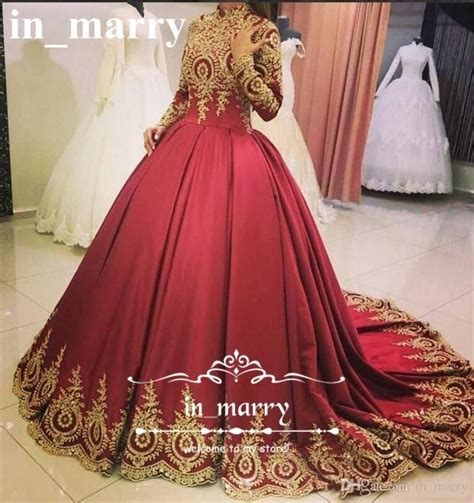 red muslim arabic ball gown evening dresses  gold lace