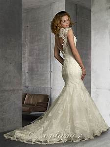 lace v neck mermaid cap sleeves open back vintage inspired With open back mermaid wedding dresses