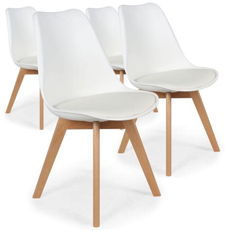 chaises scandinaves ericka blanc lot de 4 pas cher