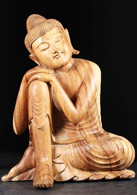 "Large Wooden Resting Buddha Statue 41"" (#86bw6): Hindu ..."