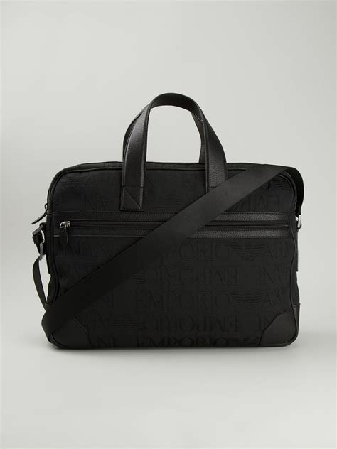 emporio armani laptop bag  black  men lyst