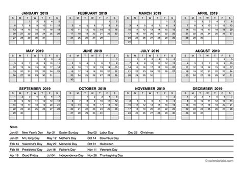 yearly calendar  holidays  printable