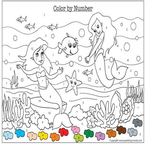 mermaids color  number worksheet sparkling minds