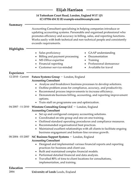 Exle Resume For Consultant by Best Consultant Resume Exle Livecareer