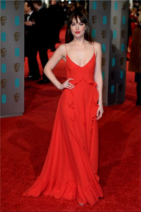 dakota johnson  red dress  jimmy choo ground bafta awards   red carpet