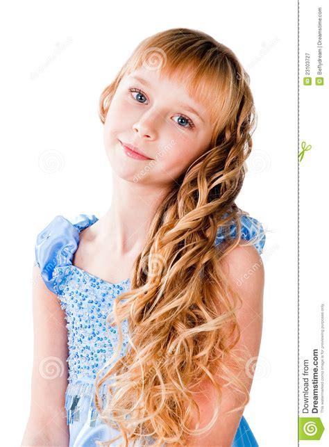 Amazing Hairs Teen Girl Isolated On White Stock Image