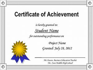 Printable certificate of achievement certificate templates for Certificate of accomplishment template