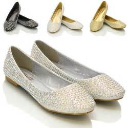 flat bridesmaid shoes new womens diamante bridal sparkly bridesmaid ballerina pumps shoes size ebay