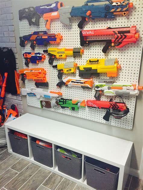 No more nerf darts and guns lying everywhere. Nerf Storage Wall | To Do | Nerf storage, Kids room, Nerf ...