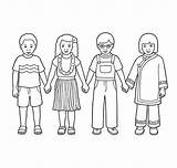 Hands Holding Coloring Children Drawing Line Printable Four Showing Getcolorings Getdrawings sketch template