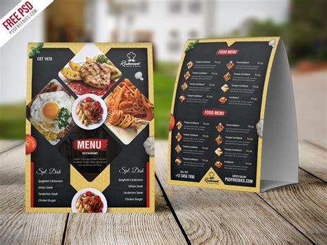 psd restaurant menu table tent card psd template