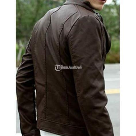 jaket kulit pria terbaru korea style leather jacket coklat