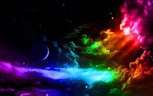 clouds outer space colorful planets rainbows skyscapes ...