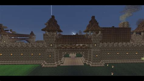 minecraft medieval wall gate tutorial   build  wall gate youtube