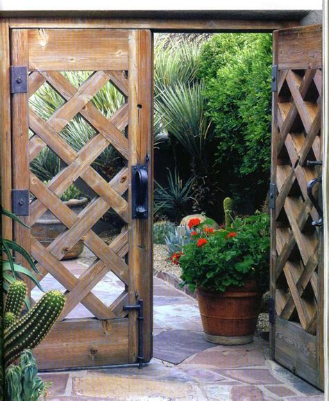 cross cutting design wooden garden gate wooden gates