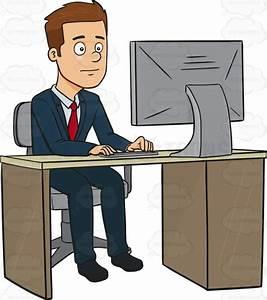 Businessman Working At A Computer Cartoon Clipart - Vector ...