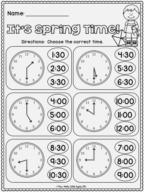 First Grade Telling Time Dailypollco