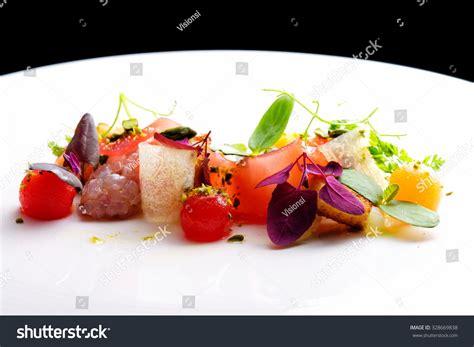 tartare cuisine haute cuisine appetizer tuna tartare watermelon stock