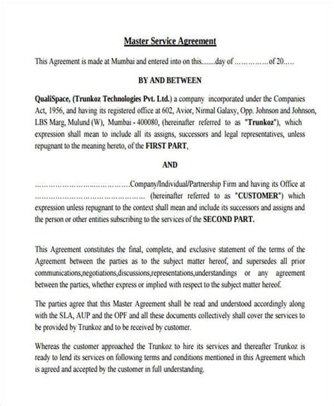 master service agreement template 7 service contract agreement form sles free sle exle format
