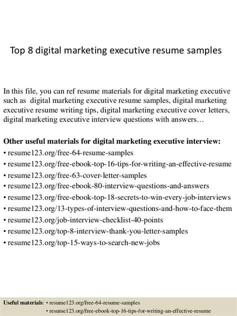 top 8 digital marketing executive resume sles
