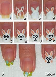 Easter bunny nails nail art gallery step by