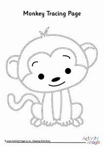 monkey birthday cake template - monkey tracing page pre k and kindergarten printables