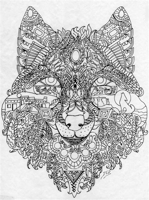 My own Southwest Wolf design-Deb | Coloring pages, Adult