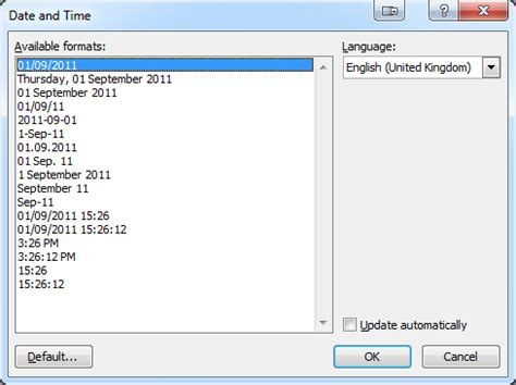 Format In Ms Word by Custom Date Format In Ms Word 2010 User