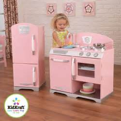 kidkraft pink retro play kitchen and refrigerator