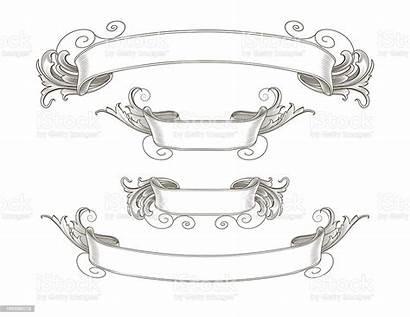 Ribbon Ornate Banners Vector Engraved Illustration Istock