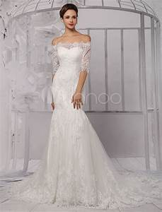 half sleeve off the shoulder lace wedding dress in trumpet With wedding dress sleeve styles