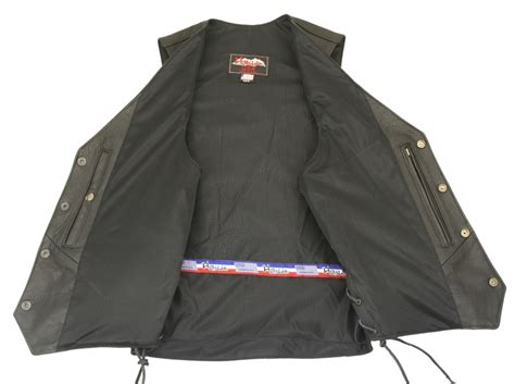 Men's Semi-perforated Biker Leather Vest With Perforated