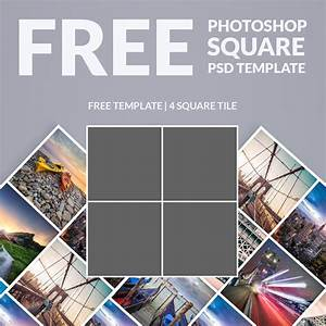 Free Photoshop Template  Photo Collage Square