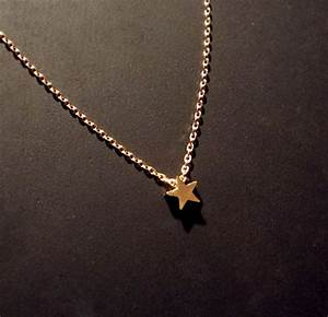 "Tiny, Star Necklace, on Delicate 15"" Gold Chain, small ..."