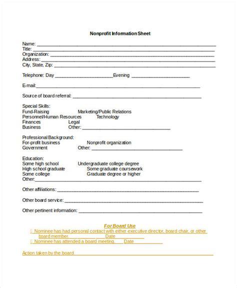 nonprofit sheet templates   word  format