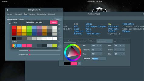 how to export bash color schemes in terminix
