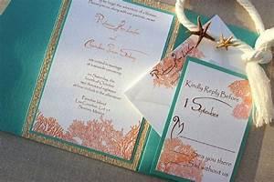 Tiffany blue and coral wedding invitation sang maestro for Royal blue and coral wedding invitations