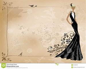 Fashion Vintage Girl In Black Dress Stock Photos - Image ...